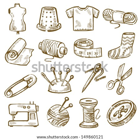 vector hand drawn sewing icons set on white - stock vector