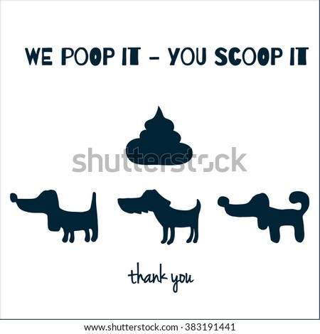 vector hand drawn sign with three dogs and dog poo and text in english  - stock vector