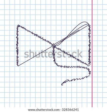 Vector hand drawn sketch bow on string icon on copybook. Doodle style
