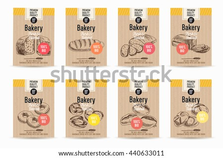 Vector hand drawn sketch bread posters set. Eco foods.Sketch illustration. - stock vector