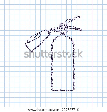 Vector hand drawn sketch fire extinguisher icon on copybook. Doodle style  - stock vector