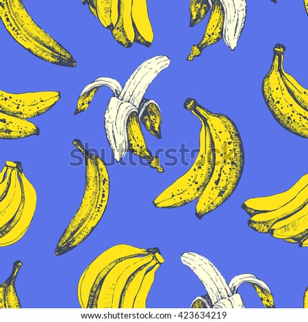 Vector hand-drawn sketch of banana. Seamless nature background. Fresh organic food.