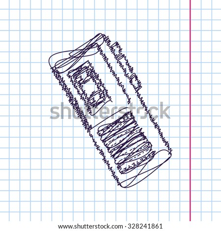 Vector hand drawn sketch retro dictaphone icon on copybook. Doodle style  - stock vector