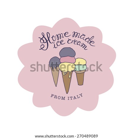 vector hand drawn sketched  illustration of homemade ice cream logo - stock vector