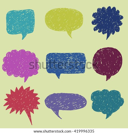 Vector hand drawn sketched speech bubbles set. Black and white isolated clouds for your text. Trendy banners set. - stock vector