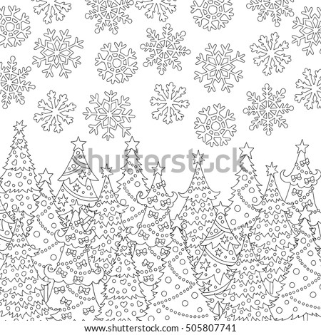 Vector Hand Drawn Snowflakes Christmas Tree Illustration For Adult Coloring Book Freehand Sketch