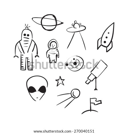 vector hand drawn space elements sketch on a white background - stock vector