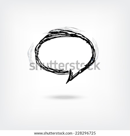 Vector hand drawn speech bubble isolated - stock vector