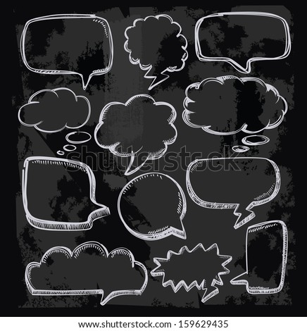 vector hand drawn speech bubbles on chalkboard - stock vector