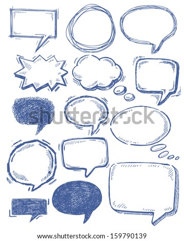vector hand drawn speech bubbles on white - stock vector