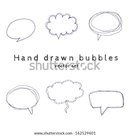 Vector  hand drawn speech bubbles. set of six design elements - stock vector