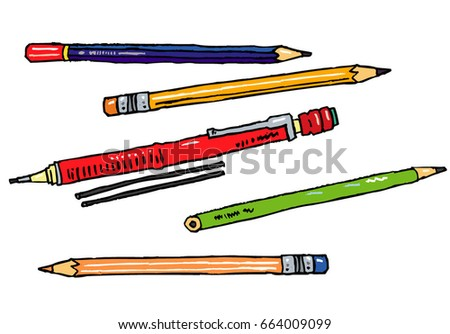 Vector hand drawn stationery isolated - pencils