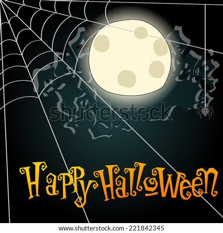 Vector hand drawn style Halloween background illustration with full Moon and spiderweb - stock vector