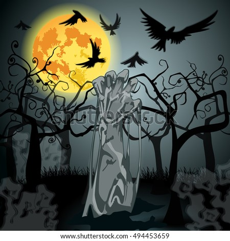 Vector hand drawn style Halloween illustration with undead zombie rising from the grave in front of the full Moon