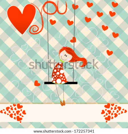 Vector hand drawn style illustration of cute romantic girl - Valentine's Day card - stock vector