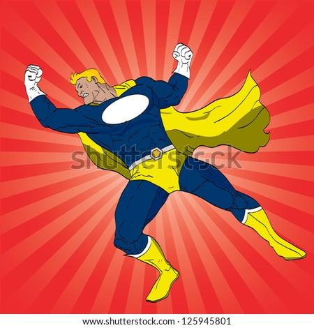 Vector hand drawn superhero punching pose - stock vector