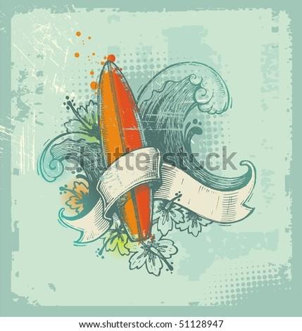 Vector hand drawn surfing emblem - stock vector