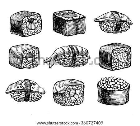 Vector hand drawn sushi set. Vintage sketch illustration - stock vector