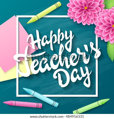 Vector Hand Drawn Teachers Day Lettering Greetings Label
