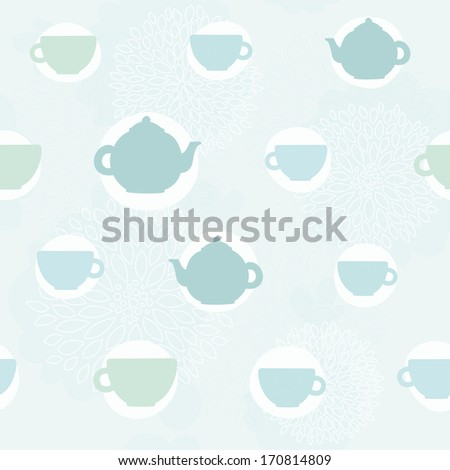 Vector hand drawn teatime seamless pattern - stock vector