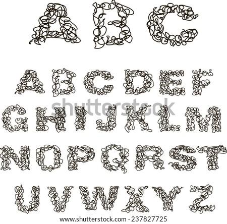 Vector hand drawn thread alphabet. EPS 10 - stock vector
