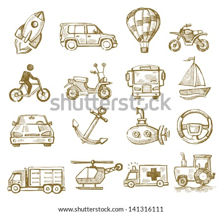 vector hand drawn transport icons set on white - stock vector