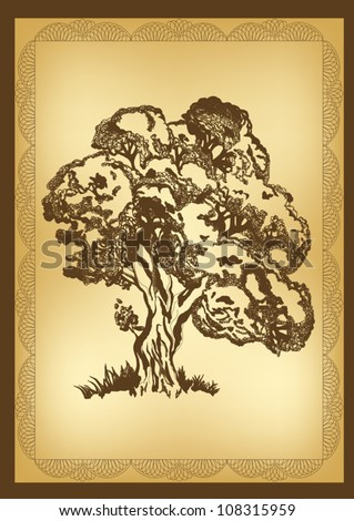 vector hand drawn tree in vintage style - stock vector