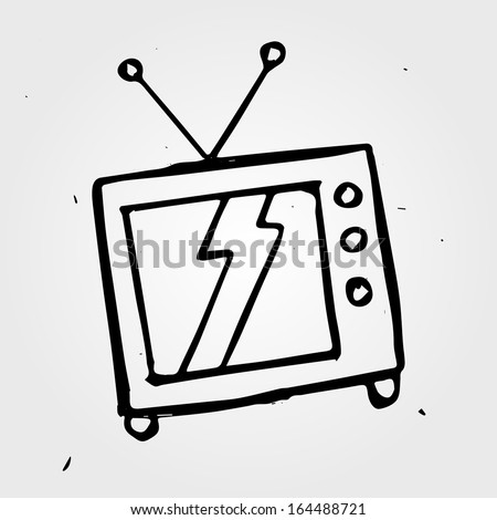 Vector hand drawn TV - stock vector