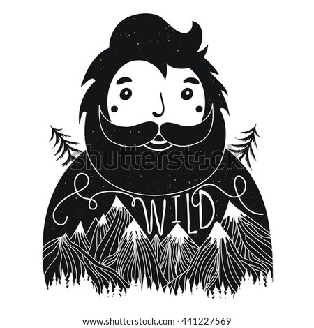Vector hand drawn typography poster with bearded man and word Wild. Inspirational and motivational hipster style illustration with mountains and trees, trendy print design