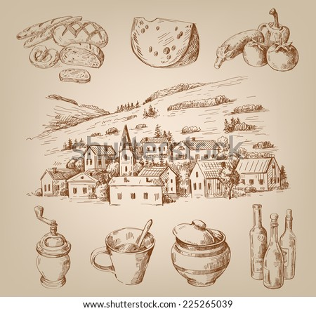 vector hand drawn village houses sketch with food - stock vector