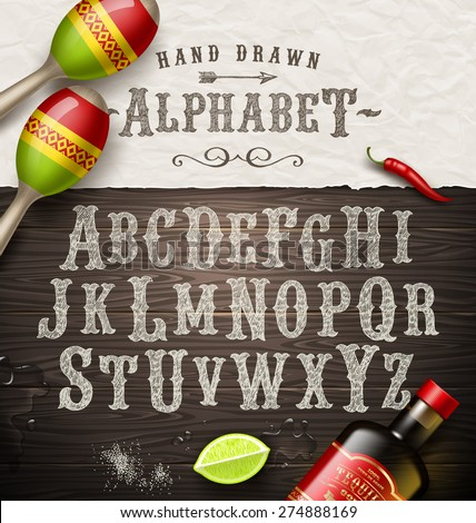 Vector hand drawn vintage alphabet. Old Mexican signboard style font