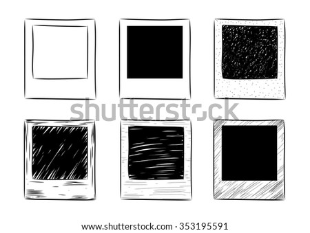 vector hand-drawn vintage photo frame set. EPS - stock vector