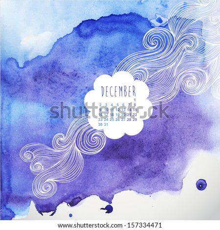 Vector hand drawn watercolor background with decorative label,vector illustration, stain watercolors colors wet on wet paper. Watercolor composition for scrapbook elements - stock vector