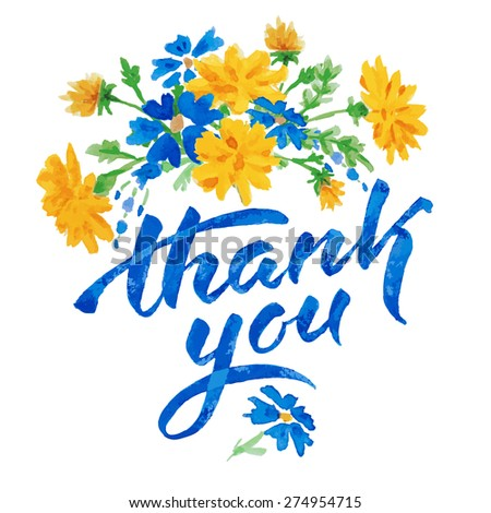 Vector hand drawn watercolor colorful  floral card with summer flowers dandelion and inscription thank you.  Isolated on white background. Copyspace for your text. - stock vector