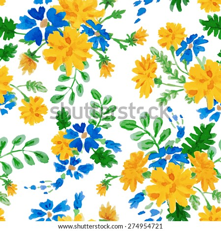Vector hand drawn watercolor colorful seamless floral pattern with summer flowers on white background. - stock vector