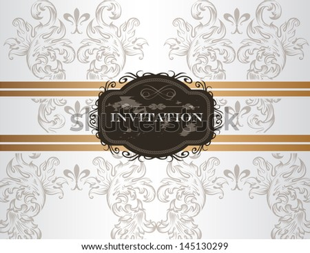 Vector hand drawn  wedding invitation design in classic floral style