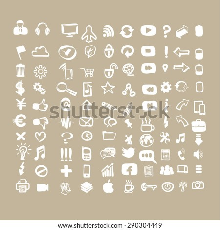Vector hand-drawn white 100 universal  web icons set on light brown background