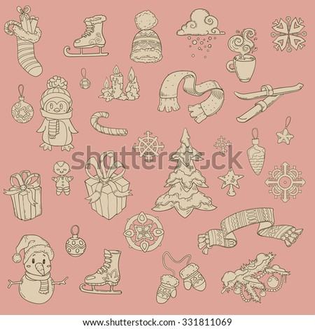 vector hand drawn winter, new year and christmas elements