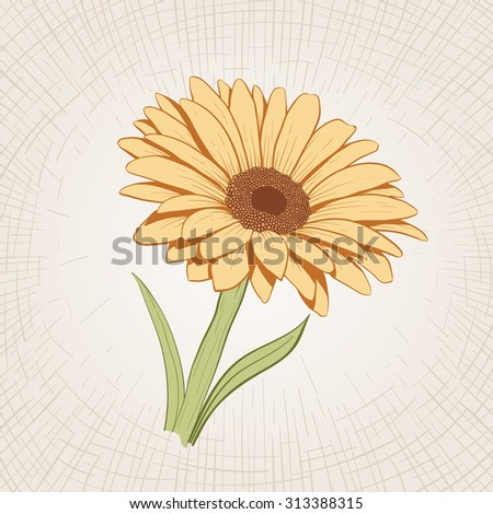 Vector hand drawn yellow flower. Global color CMYK.  - stock vector