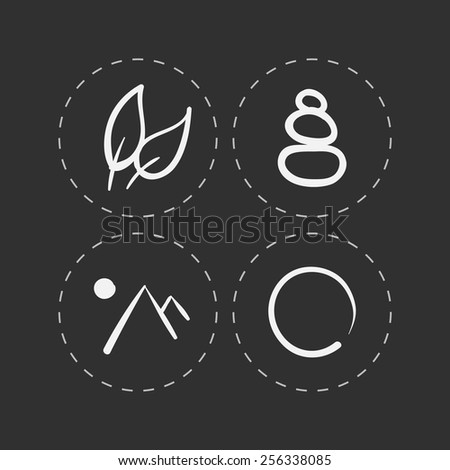 vector hand drawn zen icons set on black background - stock vector