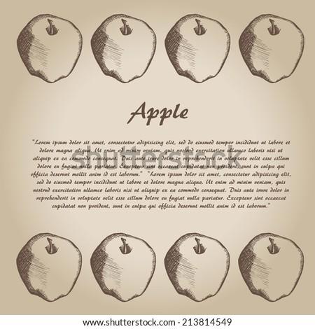 vector hand drown apple, card - stock vector