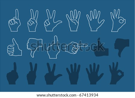 vector hand gestures (signs) set numbers and signs for rating (high detailed - realistic) - stock vector