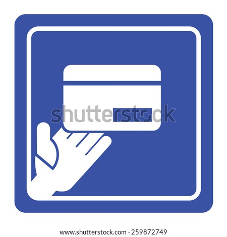 Vector hand holding credit card icon or sign - stock vector