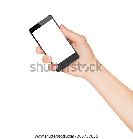 Vector Hand Holding Touchscreen Mobile Phone - stock vector