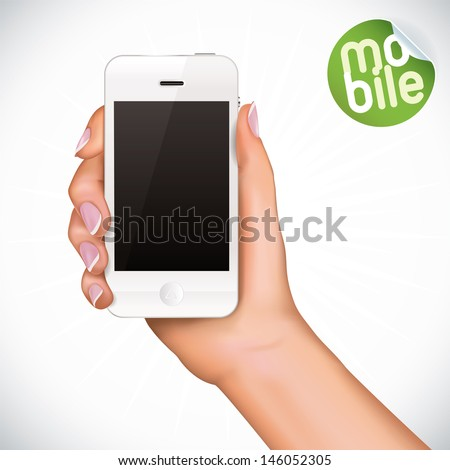 Vector Hand Holding Touchscreen Mobile Phone, Iphon, Ipade, Ipode style gadget Illustration, Icons, Sign, Badge With Sticker - stock vector