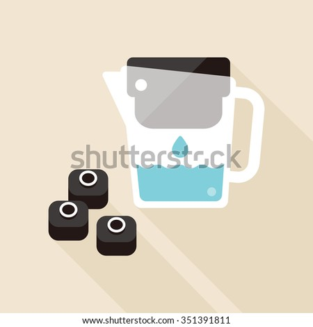 vector hand holding water filter jug / with bamboo charcoal filter cartridge / water drop / purification concept icon, symbol / black - stock vector