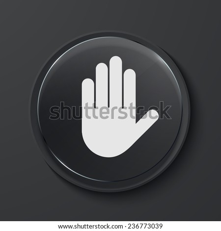 Vector hand modern black glass circle icon. Eps10