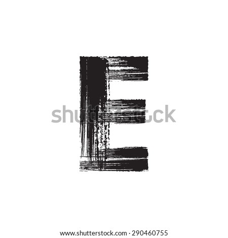 Vector hand paint letter E. Hand drawn letter with dry brush. - stock vector