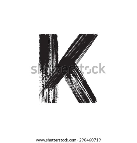 Vector hand paint letter K. Hand drawn letter with dry brush. - stock vector