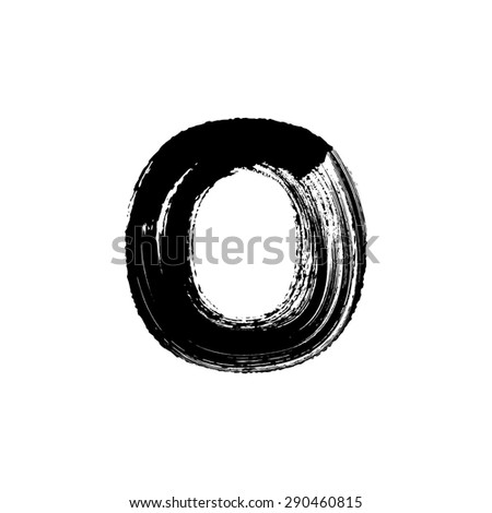 Vector hand paint letter O. Hand drawn letter with dry brush. - stock vector